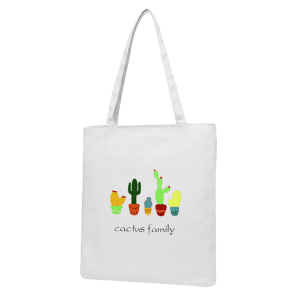 Impression sur toile Cactus Shoulder Bag - Blanc