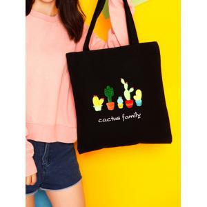 Canvas Print Cactus Shoulder Bag - BLACK