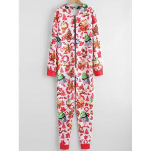 Hooded Christmas One Piece Pajama - COLORMIX L