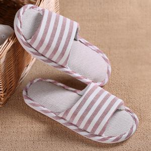 Striped Color Block Indoor Slippers - PINK SIZE(37-38)