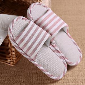 Striped Color Block Indoor Slippers - PINK SIZE(39-40)