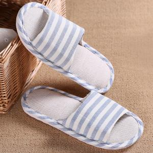 Striped Color Block Indoor Slippers - LIGHT BLUE SIZE(39-40)