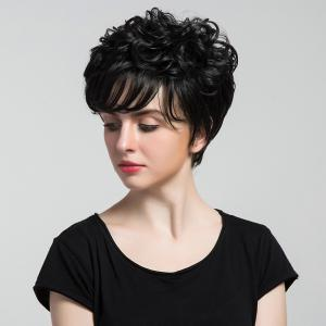 Short Inclined Bang Curly Synthetic Wig -