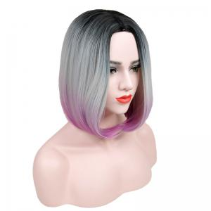 Short Center Parting Straight Bob Ombre Synthetic Wig -