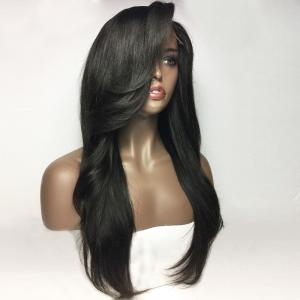 Deep Side Parting Long Natural Straight Lace Front Real Human Hair Wig - NATURAL BLACK