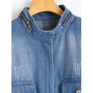 Zip Up Blend Wash Plus Size Denim Jacket -