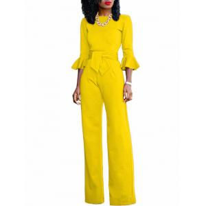Flare Sleeve Waisted Jumpsuit - YELLOW S