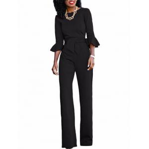 Flare Sleeve Waisted Jumpsuit - BLACK S