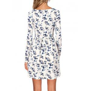 Floral Dress with Long Sleeve - WHITE S