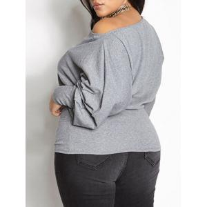 Puff Sleeve Plus Size Blouse - GRAY XL