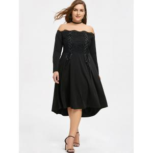 Lace Trim Plus Size Lace-up Off Shoulder Dress -