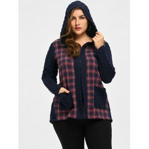 Plus Size Patch Pocket Checked Hooded Jacket -