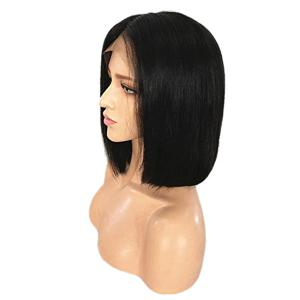 Short Middle Part Straight Bob Real Human Hair Lace Front Wig -
