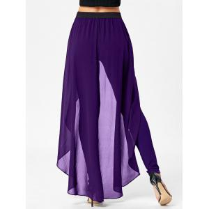 Slimming High Waist Skirted Pants - PURPLE 2XL