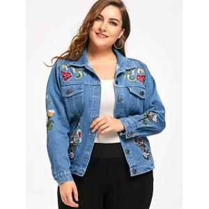 Button Up Plus Size Embroidery Denim Jacket - DENIM BLUE 2XL