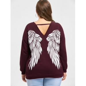 Plus Size Wings Lace Up Sweatshirt -