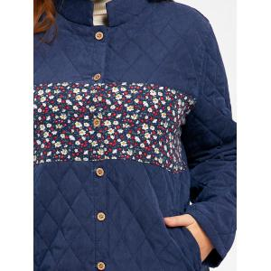 Floral Panel Textured Plus Size Long Padded Coat -