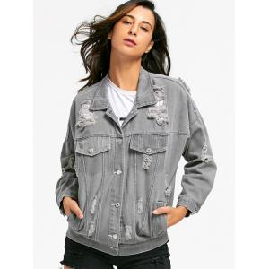 Stitching Ripped Denim Jacket -