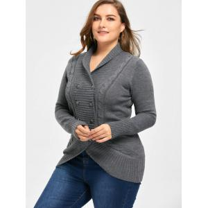 Plus Size Double Breasted Slim Cardigan - DEEP GRAY 2XL