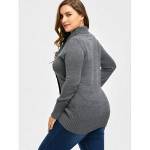 Plus Size Double Breasted Slim Cardigan -
