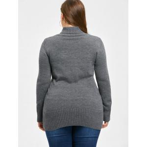 Plus Size Double Breasted Slim Cardigan - DEEP GRAY 5XL