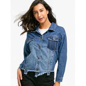 Flap Pockets Raw Hem Jean Jacket -