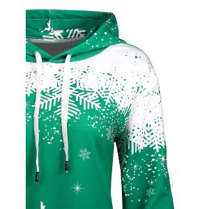 Plus Size Christmas Snowflake Tree Pocket Hoodie - GREEN 3XL
