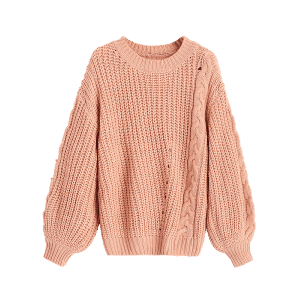Chunky Cable Knit Sweater - CAMEO ONE SIZE