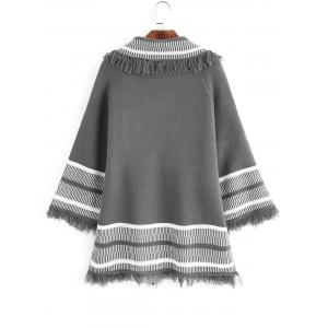 Fringed Open Front Stripes Panel Cardigan -