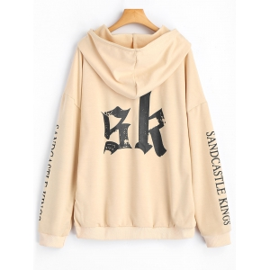 Letter Logo Drawstring Oversized Hoodie - APRICOT L