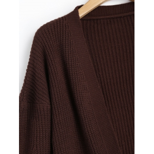 Contrasting Lantern Sleeve Open Front Cardigan - COFFEE ONE SIZE