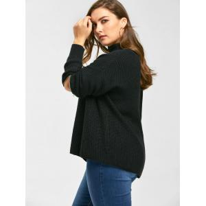 Plus Size Zip Sleeve Choker V Neck Sweater -
