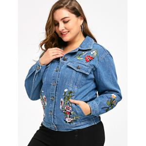 Button Up Plus Size Embroidery Denim Jacket -