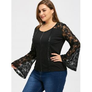 Lattice Plus Size Zip Up Lace Sleeve Jacket -