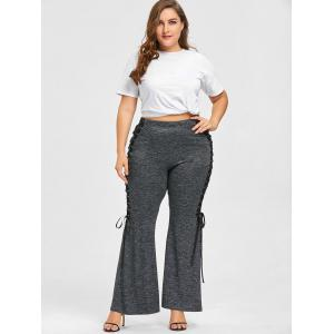 Plus Size Marled Lace Up Flare Pants -