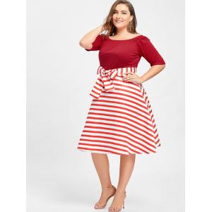 red xl stripe plus size christmas party knee length dress rosegal com