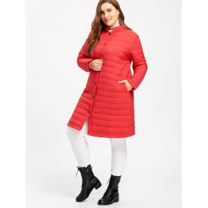 Button Up Plus Size  Long Textured Padded Coat -