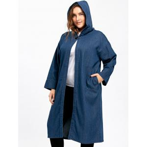 Plus Size Long Hooded Denim Coat with Pockets -