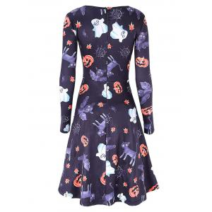 Halloween Pumpkin Ghost Print Swing Dress -