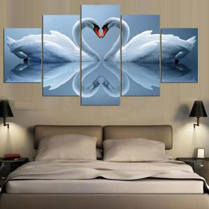 Double Swan Pattern Split Canvas Wall Art Paintings -