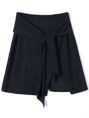 Unique Tie Front Slit Mini Skirt