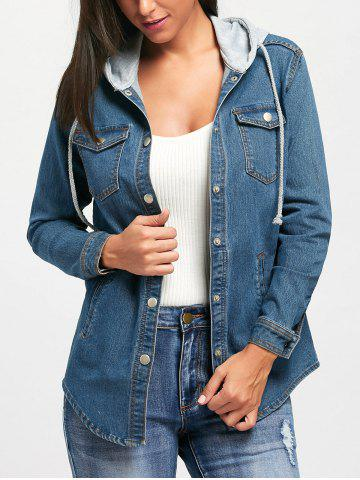Trendy Drawstring Button Up Hooded Jean Jacket