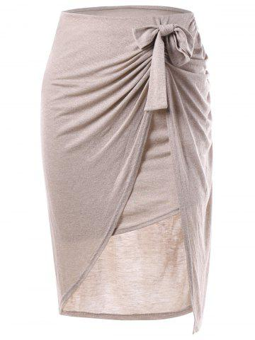 Bowknot Slit Draped Pencil Jupe Carnation M