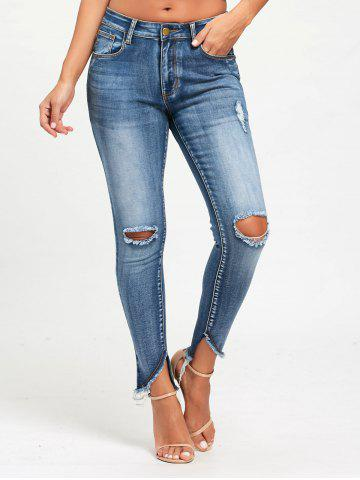 Trendy Frayed Slim Fit Ninth Torn Jeans