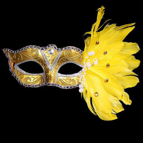 Outfit Faux Pearl Embellished Party Feather Masquerade Mask