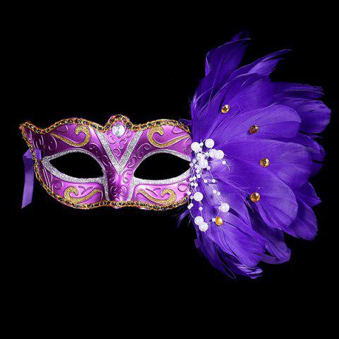 Affordable Faux Pearl Embellished Party Feather Masquerade Mask
