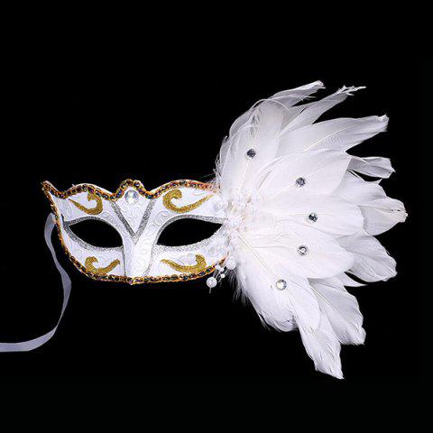 Shops Faux Pearl Embellished Party Feather Masquerade Mask
