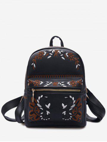 Outfit Faux Leather Flower Embroidery Backpack