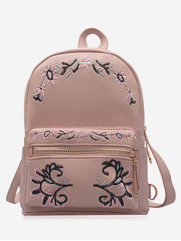 Shop Faux Leather Flower Embroidery Backpack