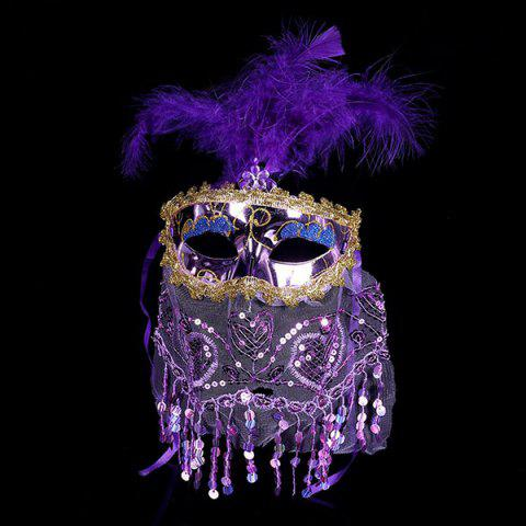 Prom Party Indian Princess Belly Dance Feather Tulle Mask